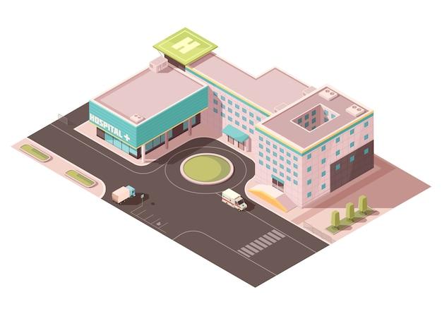 Szpital z oznakowaniem, lądowiskiem dla śmigłowców i urządzeniami wentylacyjnymi na dachu, infrastrukturą drogową, transportem Darmowych Wektorów