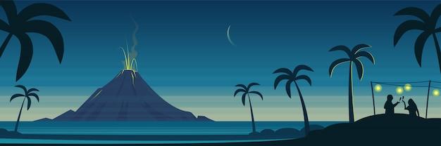 Sztandar Krajobraz Wulkanu Tropical Island I Uroczystości Party Premium Wektorów