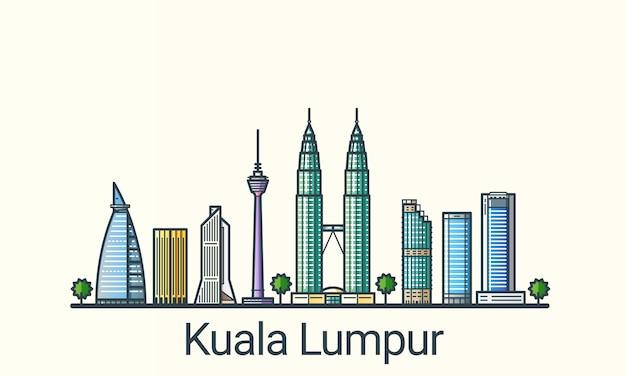 Sztandar Kuala Lumpur W Modnym Stylu Linii Płaskiej. Wszystkie Budynki Oddzielone I Konfigurowalne. Grafika Liniowa. Premium Wektorów