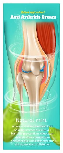 Sztandar lub rollup z ilustracją o anty artretyzmu kremowym naturalnym miętowym ekstrakcie Premium Wektorów