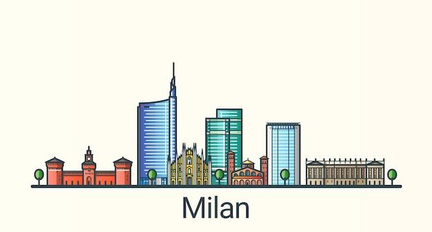 Sztandar Mediolanu W Modnym Stylu Linii Płaskiej. Wszystkie Budynki Oddzielone I Konfigurowalne. Grafika Liniowa. Premium Wektorów