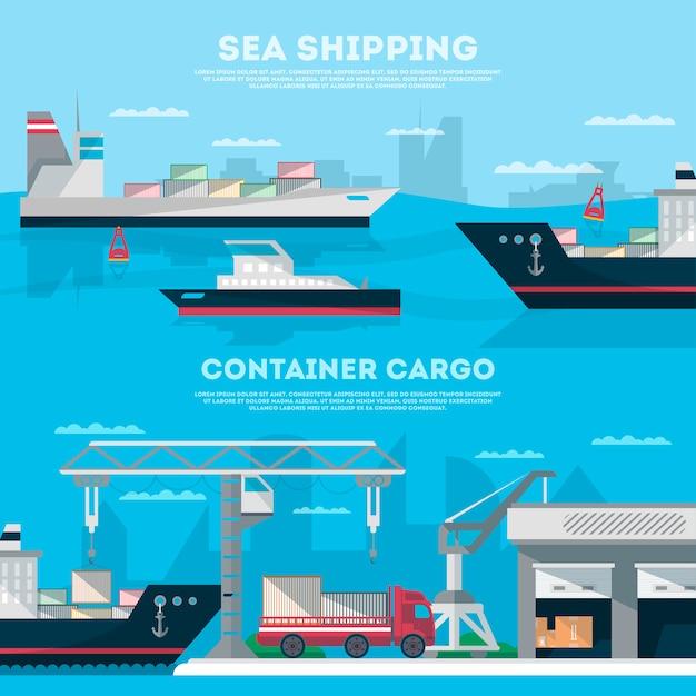 Sztandar morski zestaw z portem ładunkowym Premium Wektorów
