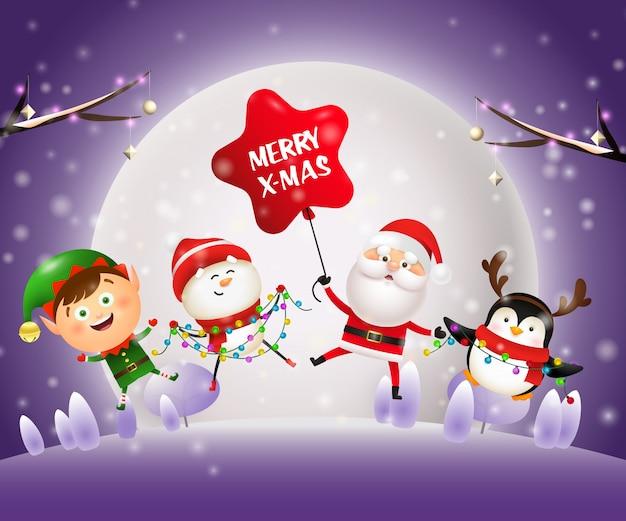 Sztandar Noc Bożego Narodzenia Ze Zwierzętami, święty Mikołaj Na Fioletowym Tle Darmowych Wektorów