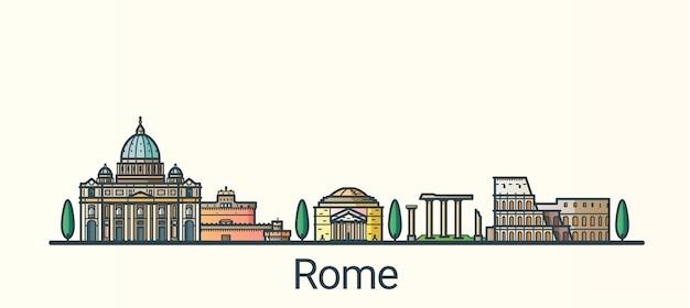 Sztandar Rzymu W Modnym Stylu Linii Płaskiej. Wszystkie Budynki Oddzielone I Konfigurowalne. Grafika Liniowa. Premium Wektorów
