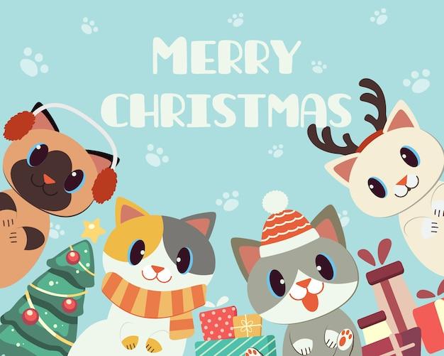 Sztandar ślicznego kota w bożonarodzeniowym temacie dla wesołych świąt. Premium Wektorów
