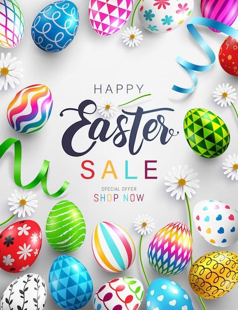 Sztandar Sprzedaż Dzień Wielkanocny Z Kolorowe Malowane Pisanki Premium Wektorów