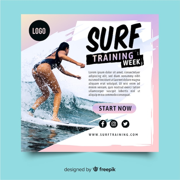 Sztandar szkolenia sportowe surfowania Darmowych Wektorów