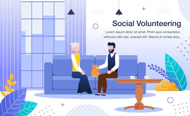 Sztandar Wolontariat Społeczny I Praca Socjalna Premium Wektorów