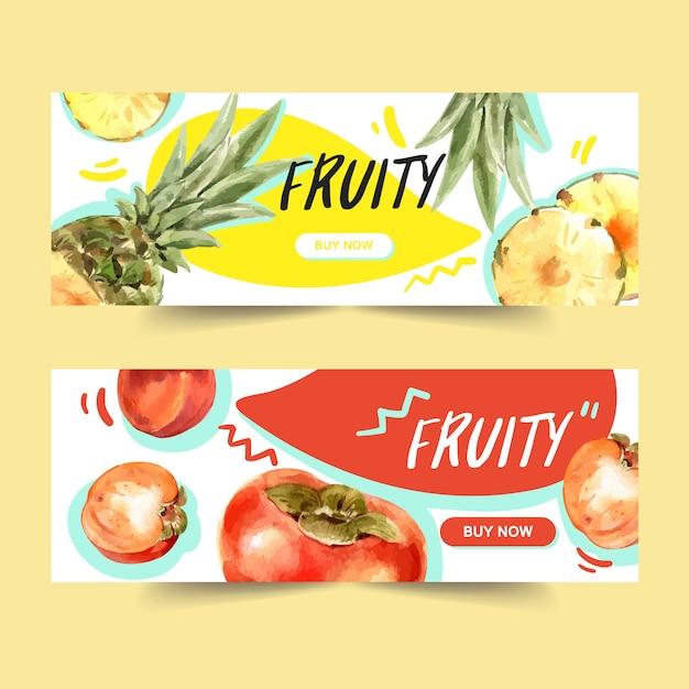Sztandar z ananasem i śliwkowym pojęciem, kolorowy ilustracyjny szablon Darmowych Wektorów