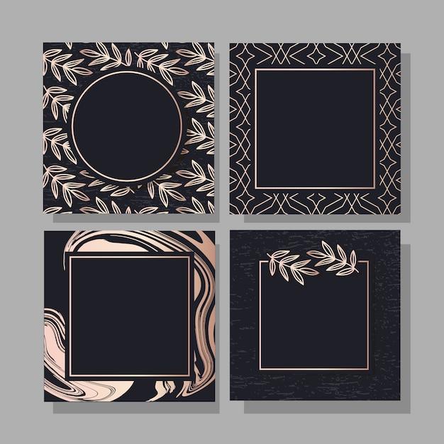 Sztandar z grafiką wektorową ze złotym wzorem mody Premium Wektorów