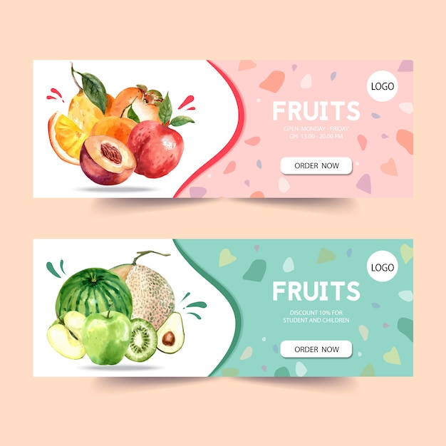 Sztandar z owoc tematu, śliwki i melonu akwareli ilustraci szablonem. Darmowych Wektorów