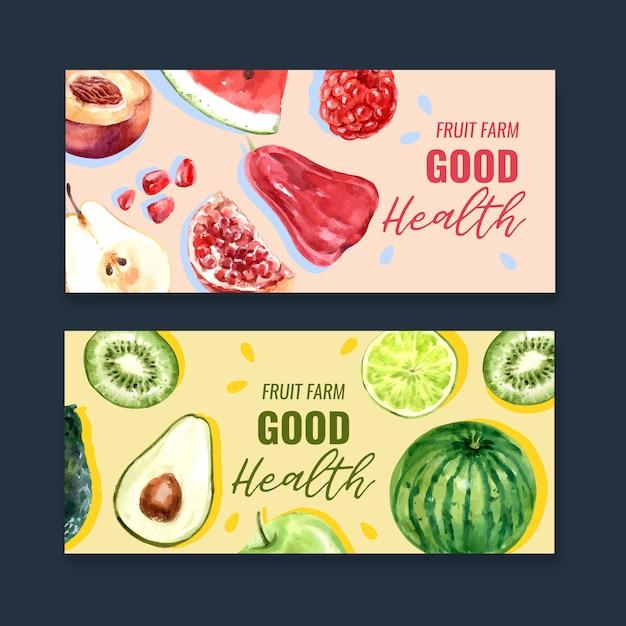Sztandar z tematem owoc, kreatywnie kolorowy ilustracyjny szablon Darmowych Wektorów