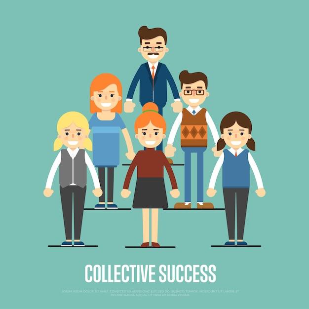 Sztandaru Sukcesu Sztandar Z Ludźmi Biznesu Premium Wektorów