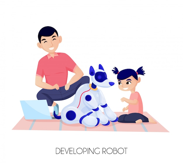 Sztuczna Inteligencja Dla Rozwoju Dziecka Małej Dziewczynki Podczas Komunikacji Z Robota Psa Ilustracją Darmowych Wektorów
