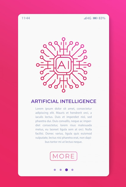 Sztuczna Inteligencja W Aplikacji Mobilnej. Premium Wektorów