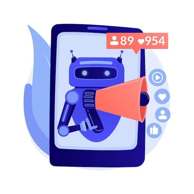 Sztuczna Inteligencja W Ilustracji Abstrakcyjnej Koncepcji Mediów Społecznościowych Darmowych Wektorów