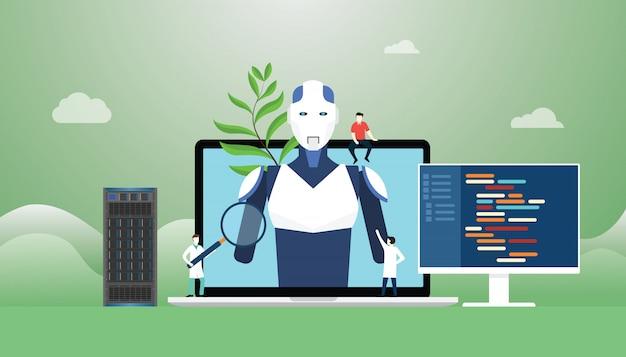 Sztuczna inteligencja z konstrukcją robota i rozwoju technologii z językiem programowania w nowoczesnym stylu mieszkania. Premium Wektorów
