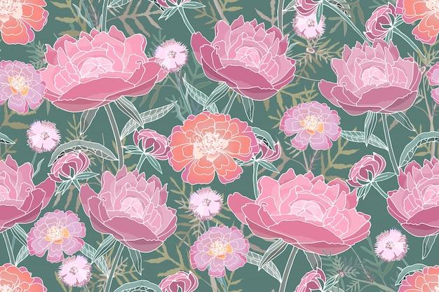 Sztuka kwiatowy wektor wzór. różowe, koralowe piwonie, aksamitki, chabry, zielone liście. Premium Wektorów