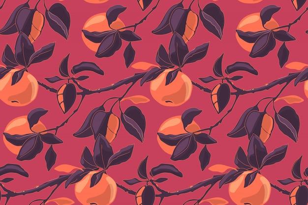 Sztuka Kwiatowy Wektor Wzór Z Jabłkami. Jabłko Rozgałęzia Się Z Liśćmi I Dojrzałymi Owoc. Do Tekstyliów Domowych, Tkanin, Tapet, Wystroju Kuchni, Papieru Do Pakowania. Premium Wektorów