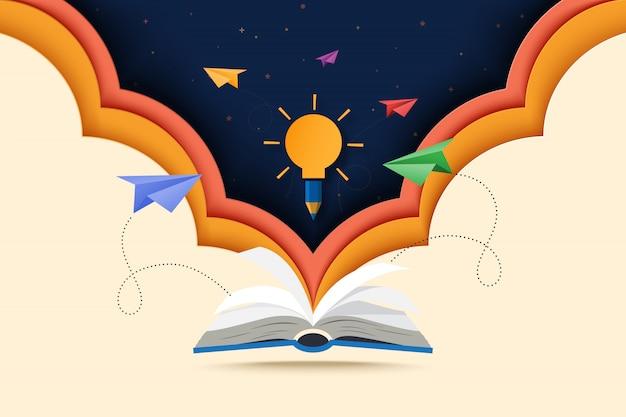 Sztuka wycinania papieru z otwartej książki z nauką, edukacją i poznawaniem. Premium Wektorów