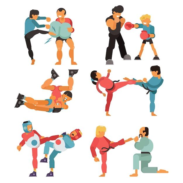 Sztuki Walki Charakteru Wojownika Ludzie Trenują Karate Sporta ćwiczenie I Silnego Mężczyzna Walczącej Władzy Praktyki Bojowej Ilustraci Ustawiający Odizolowywającym Na Białym Tle Premium Wektorów