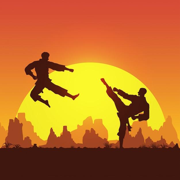 Sztuki Walki, Sylwetka Dwóch Mężczyzn Walczących W Karate, Premium Wektorów