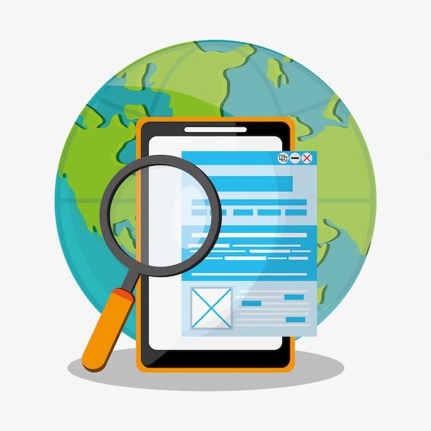 Szukaj w ikonach związanych z siecią Premium Wektorów