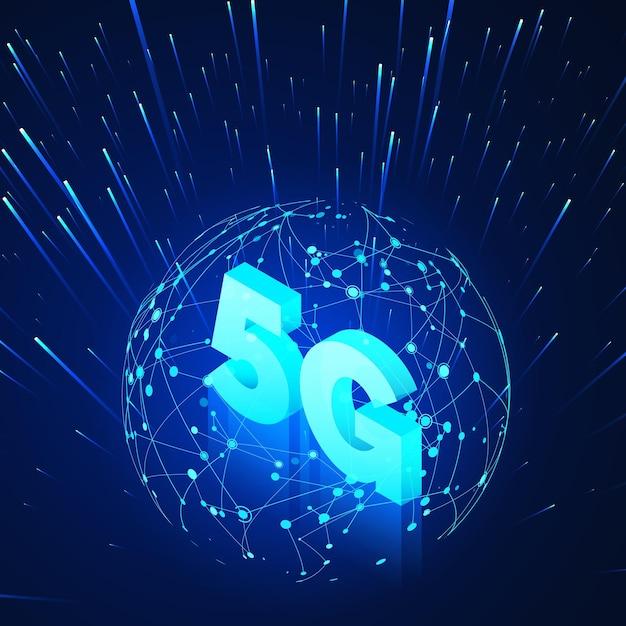 Szybkie Globalne Sieci Komórkowe. Biznes Ilustracja Izometryczna Globalna Sieć Hologram I Tekst Premium Wektorów