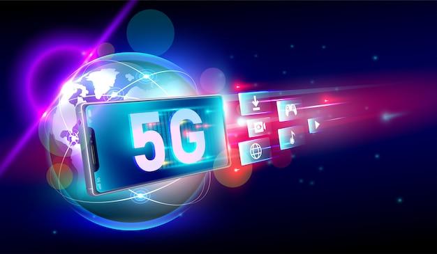 Szybkie połączenie sieciowe 5g Premium Wektorów