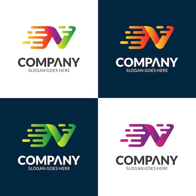 Szybkie projektowanie logo litery n. Premium Wektorów