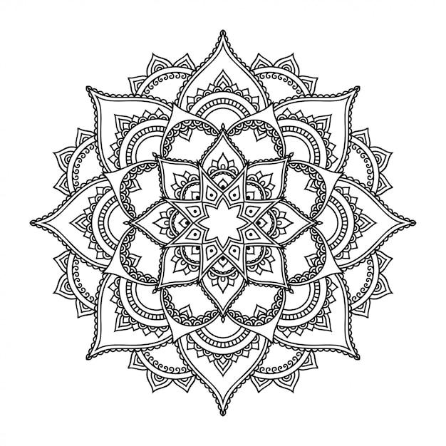 Szyk Kołowy W Formie Mandali Z Kwiatem. Ozdobny Ornament W Etnicznym Stylu Orientalnym. Kontur Doodle Ręcznie Rysować Ilustracja. Premium Wektorów