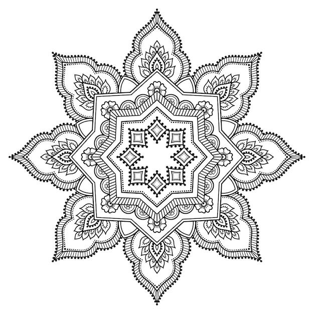Szyk Kołowy W Formie Mandali Z Kwiatem. Ozdobny Ornament W Etnicznym Stylu Orientalnym. Zarys Rysować Ręka. Premium Wektorów
