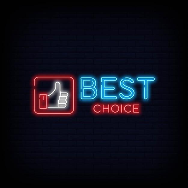 Szyld na znak neonu best choice, nocna jasna reklama, lekki napis Premium Wektorów
