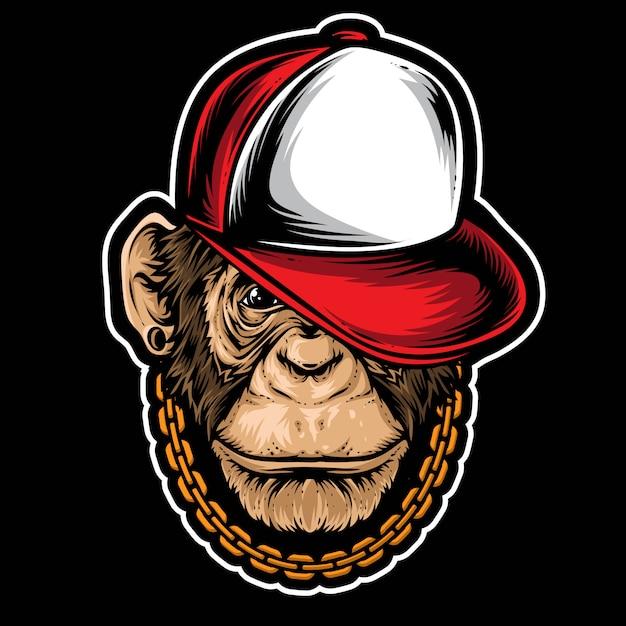 Szympans hiphopowy wektor Premium Wektorów