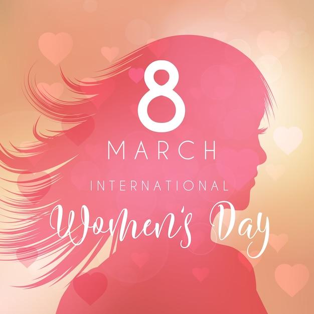 Tło dzień kobiet z kobieta sylwetka Darmowych Wektorów