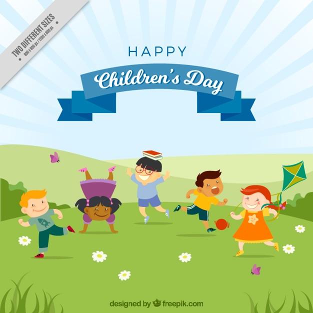 Tło z uroczych dzieci bawiące się w parku Darmowych Wektorów