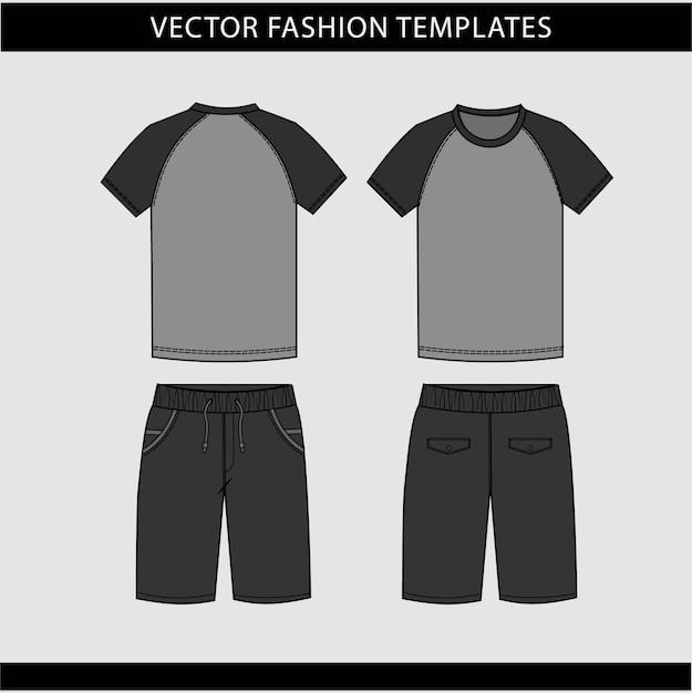 T-shirt I Spodnie Widok Z Przodu Iz Tyłu Premium Wektorów