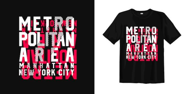 T-shirt Typografii Obszar Metropolitalny, Manhattan, Nowy Jork Premium Wektorów