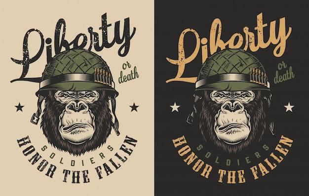 T-shirt Z Nadrukiem Goryla Darmowych Wektorów