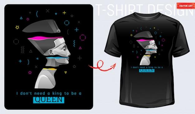 T-shirt Z Nadrukiem Memphis. Nefertiti, Kleopatra, Geometryczny Kształt. Feministyczna Modna Slogan Starożytnej Egipskiej Dziewczyny. Nie Potrzebuję Króla, żeby Być Królową. Koncepcja Projektowania Mody. Premium Wektorów