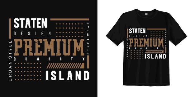 T-shirt Z Nadrukiem Miejskim W Stylu Staten Island Premium Wektorów