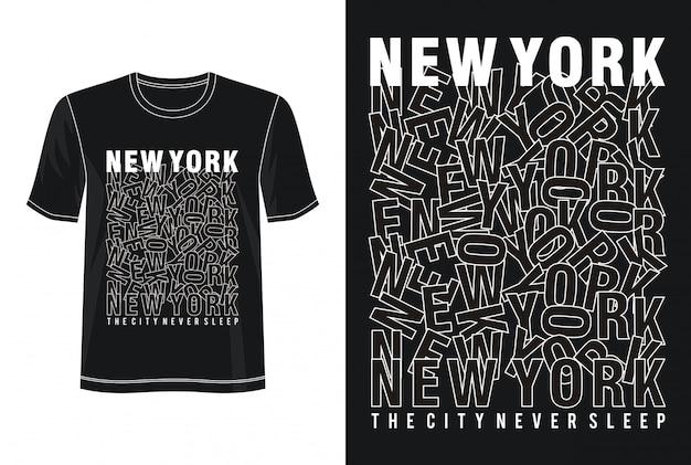 T-shirt Z Nadrukiem New York Premium Wektorów