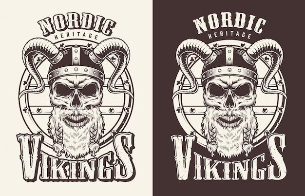 T-shirt Z Nadrukiem Z Głową Wikinga Darmowych Wektorów