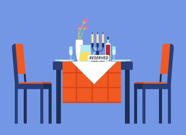 Tabela Zarezerwowana. Stół Restauracyjny Z Obrusem, Kieliszkami Do Wina, Zastawą Stołową Dwa Krzesła Na Romantyczną Kolację. Ilustracja Kreskówka Wektor Premium Wektorów