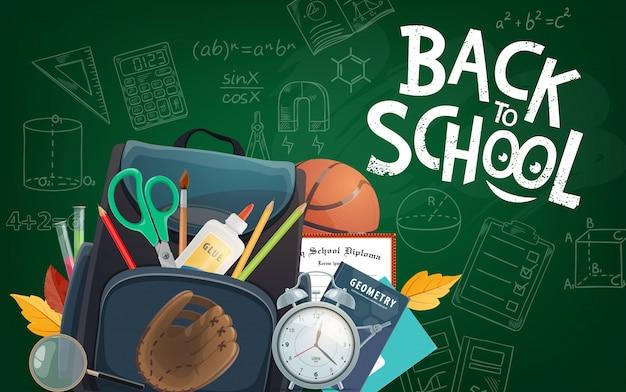Tablica Edukacyjna Napis Z Powrotem Do Szkoły Premium Wektorów