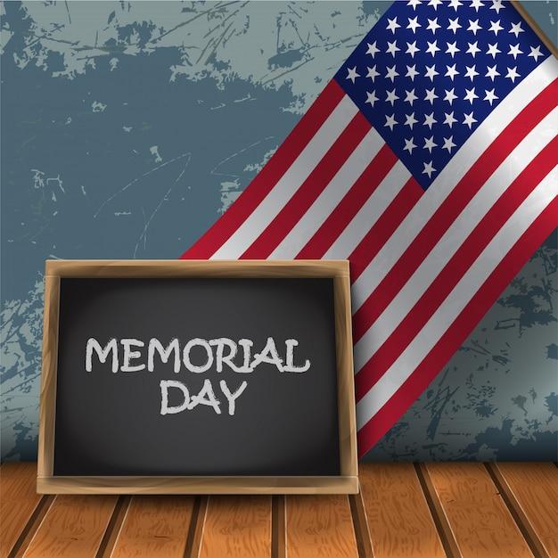 Tablica Memorial Day Z Flagą Narodową Usa Premium Wektorów