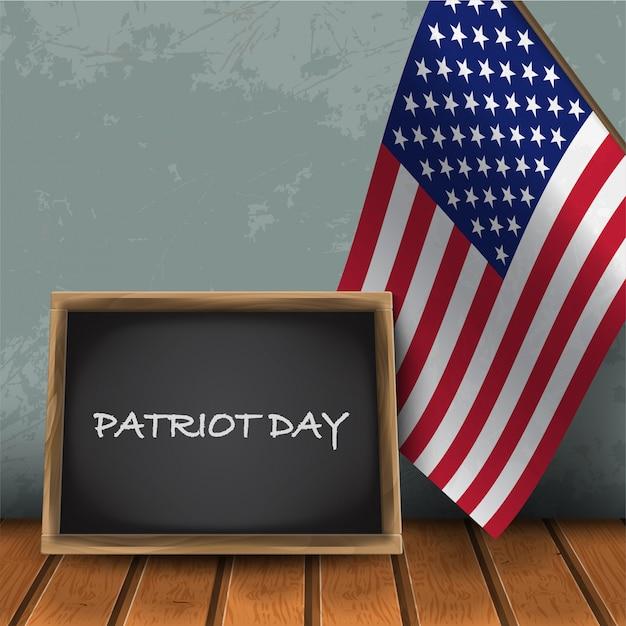 Tablica Patriot Day Z Flagą Narodową Usa Na Tle Niebieskiej ściany Z Ilustracji Wektorowych Drewniane Flor. Premium Wektorów