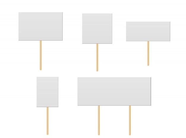 Tablice Protestacyjne, Transparentność Publiczna Z Drewnianymi Uchwytami. Tablice Kampanii Z Patyczkami. Premium Wektorów