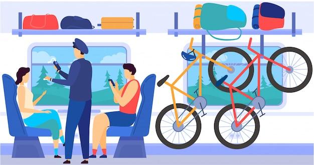 Taborowy Metra Metra Wnętrze Z Dojeżdżać Do Pracy Pasażerów, Kontrolery, Bycicles W Bagaż Komórce, Bagażowa Kreskówki Ilustracja. Premium Wektorów