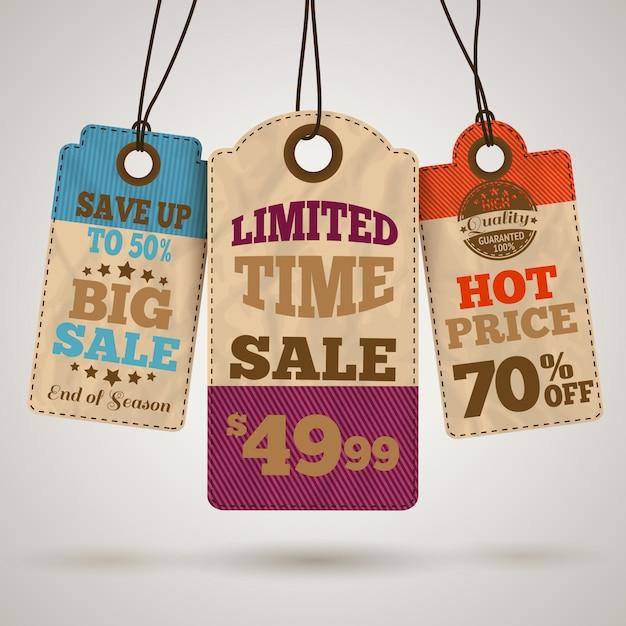 Tagi promocji sprzedaży kartonu Premium Wektorów